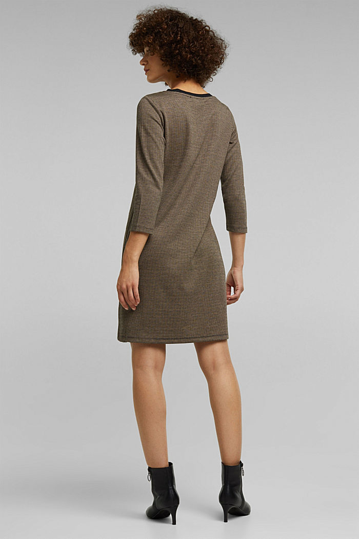 Jersey dress with a houndstooth pattern, CAMEL, detail image number 2
