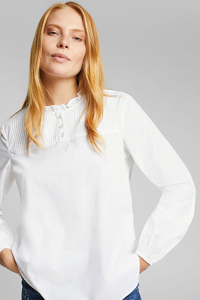 Pintuck blouse made of 100% organic cotton, WHITE, detail image number 0
