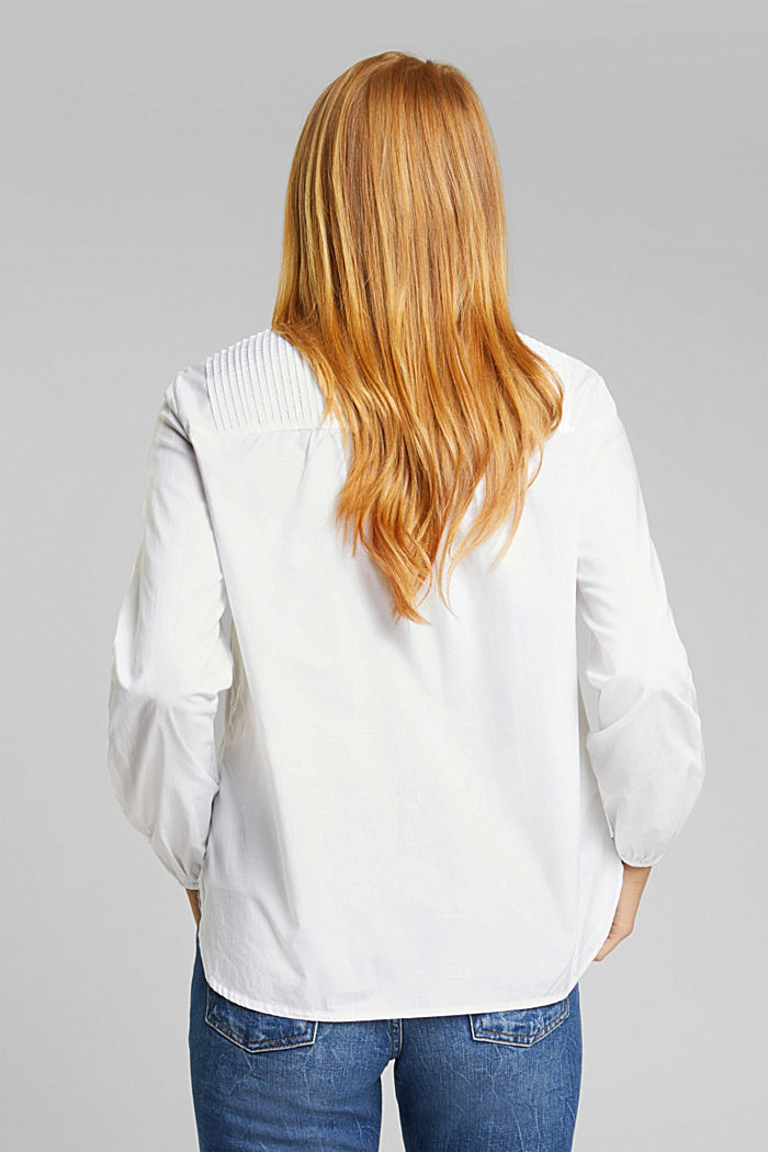 Pintuck blouse made of 100% organic cotton, WHITE, detail image number 2