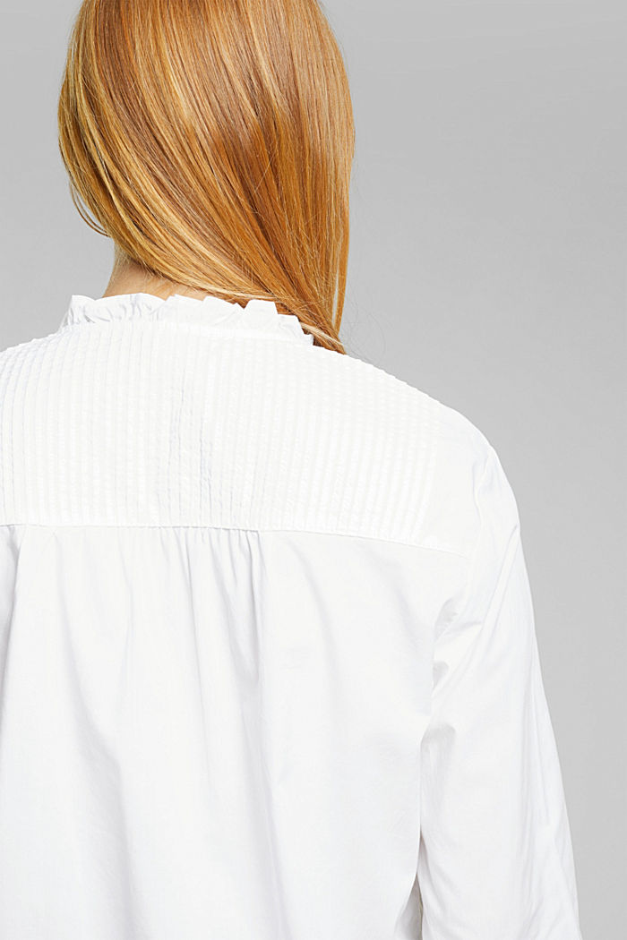 Pintuck blouse made of 100% organic cotton, WHITE, detail image number 1