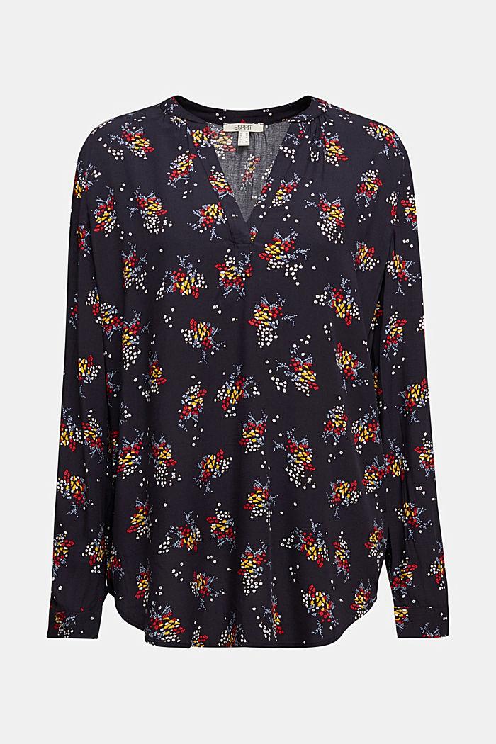 Slip-on blouse made of LENZING™ ECOVERO™, NAVY, detail image number 7