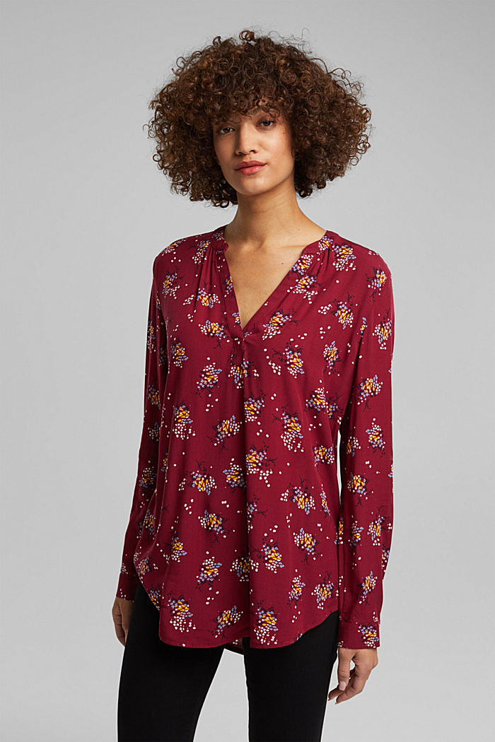 Slip-on blouse made of LENZING™ ECOVERO™, BORDEAUX RED, detail image number 0