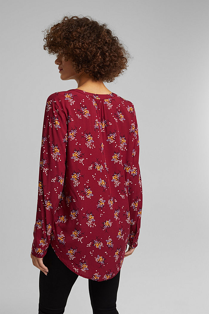 Slip-on blouse made of LENZING™ ECOVERO™, BORDEAUX RED, detail image number 3