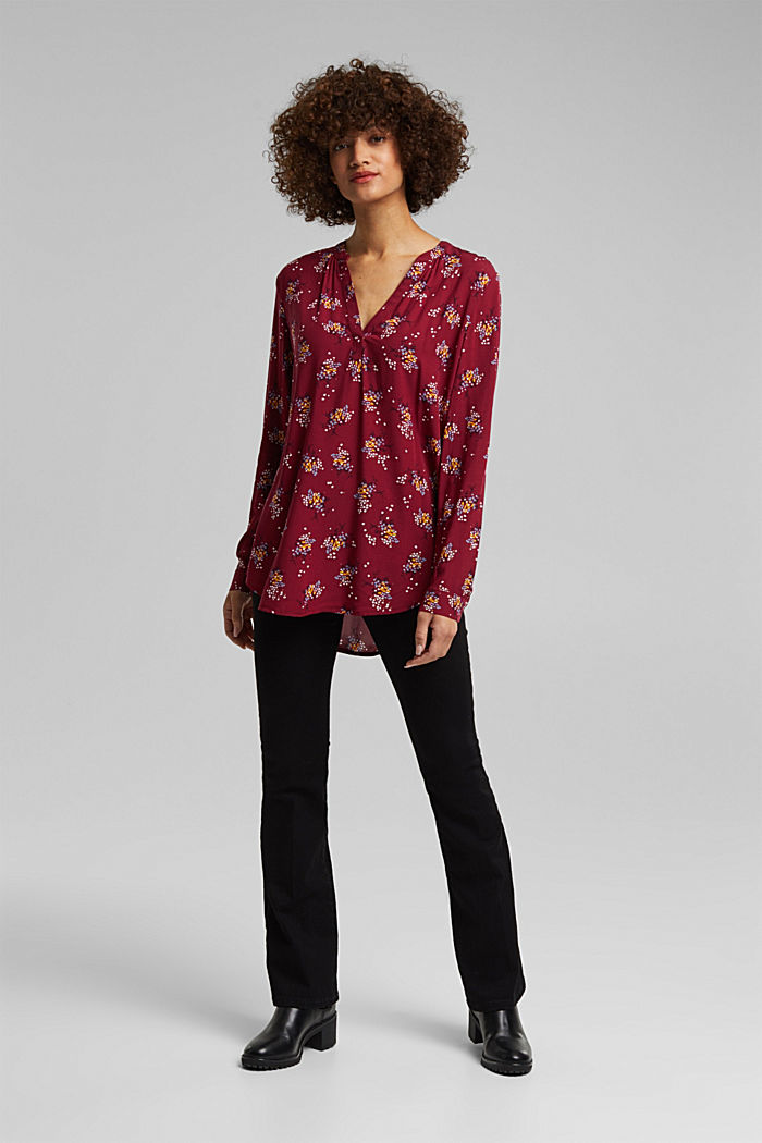 Slip-on blouse made of LENZING™ ECOVERO™, BORDEAUX RED, detail image number 6