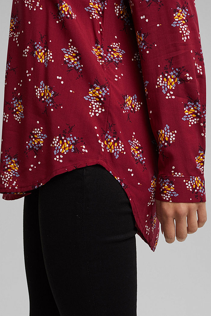 Slip-on blouse made of LENZING™ ECOVERO™, BORDEAUX RED, detail image number 5