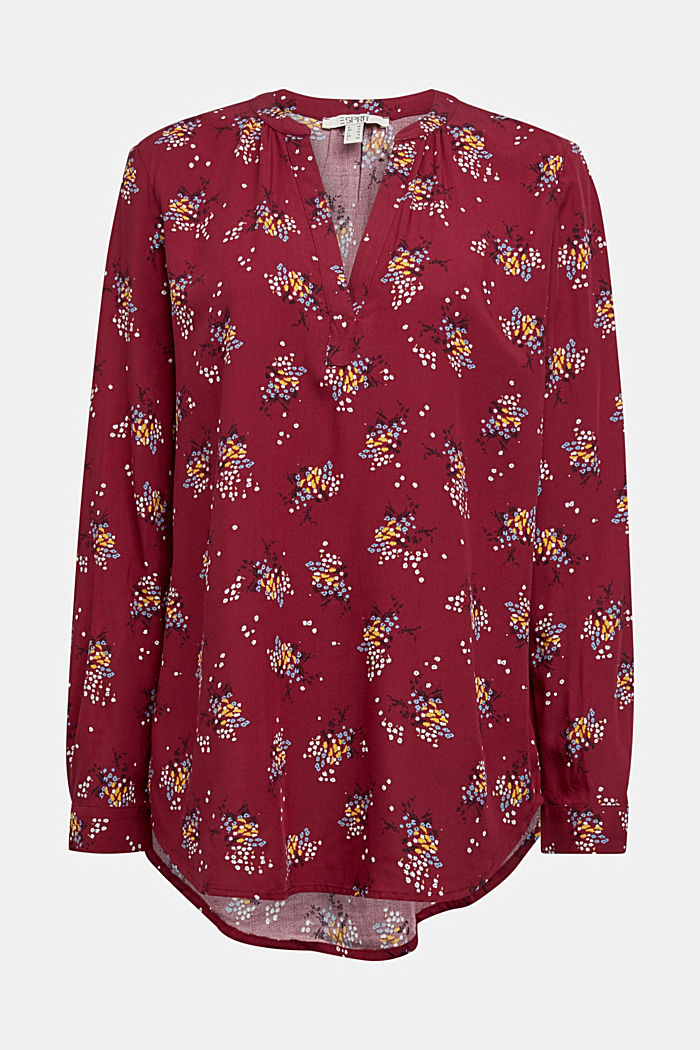 Slip-on blouse made of LENZING™ ECOVERO™, BORDEAUX RED, detail image number 7
