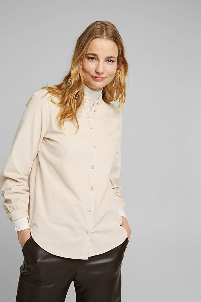 Needlecord blouse with ruffles, organic cotton, CREAM BEIGE, detail image number 0