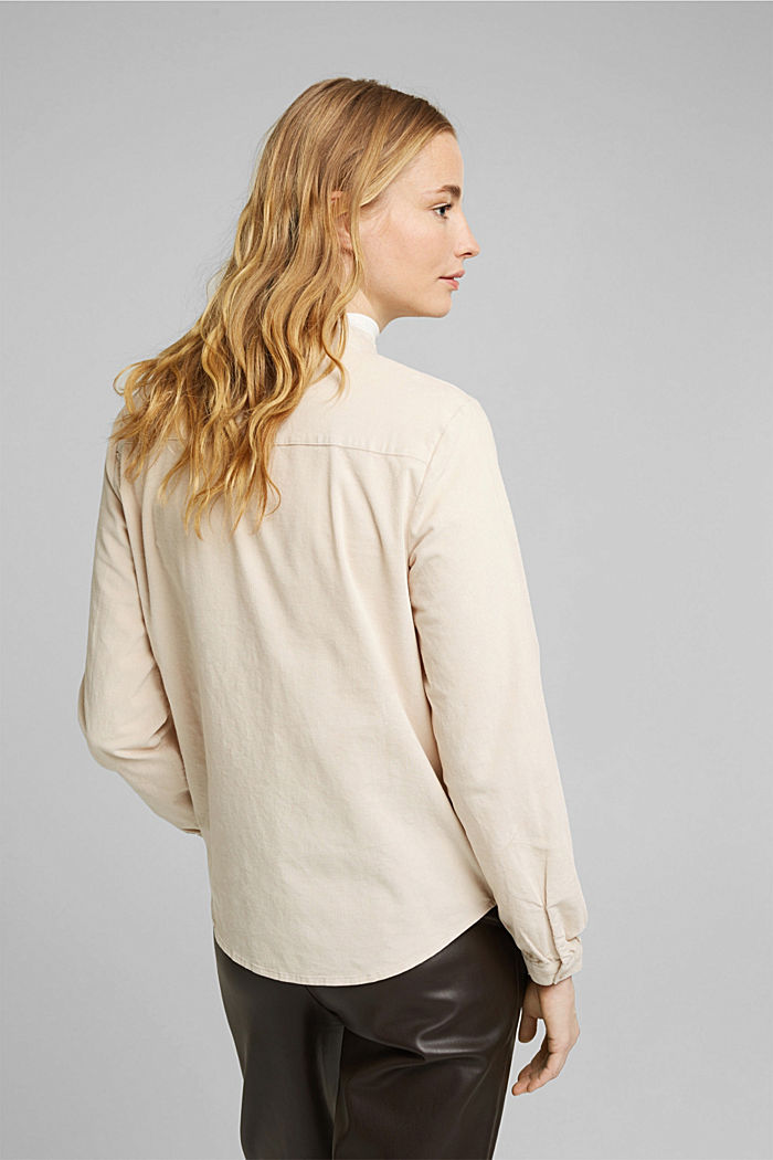 Needlecord blouse with ruffles, organic cotton, CREAM BEIGE, detail image number 3