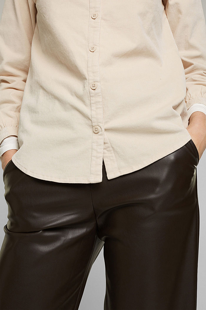 Blusa de pana fina con volantes, algodón ecológico, CREAM BEIGE, detail image number 2