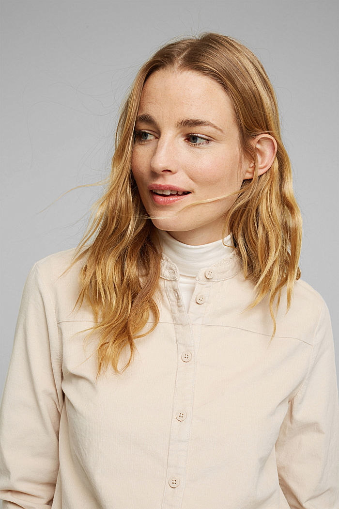 Needlecord blouse with ruffles, organic cotton, CREAM BEIGE, detail image number 5
