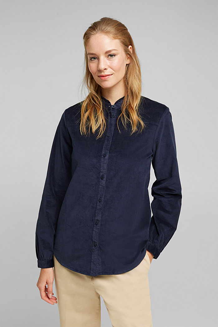 Needlecord blouse with ruffles, organic cotton, NAVY, detail image number 0