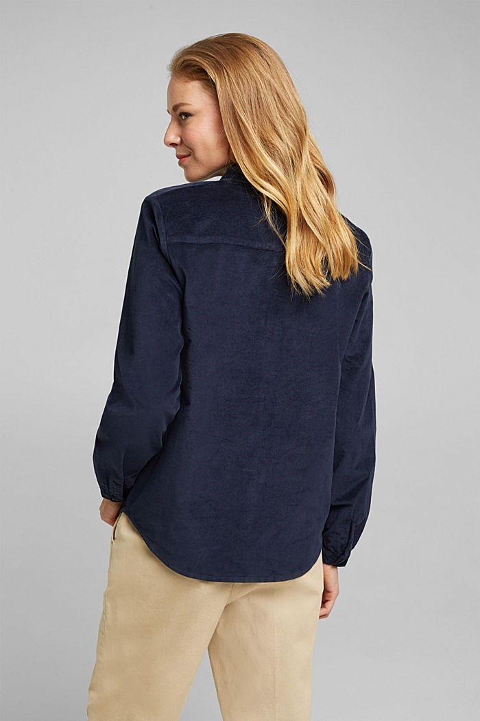 Needlecord blouse with ruffles, organic cotton, NAVY, detail image number 3
