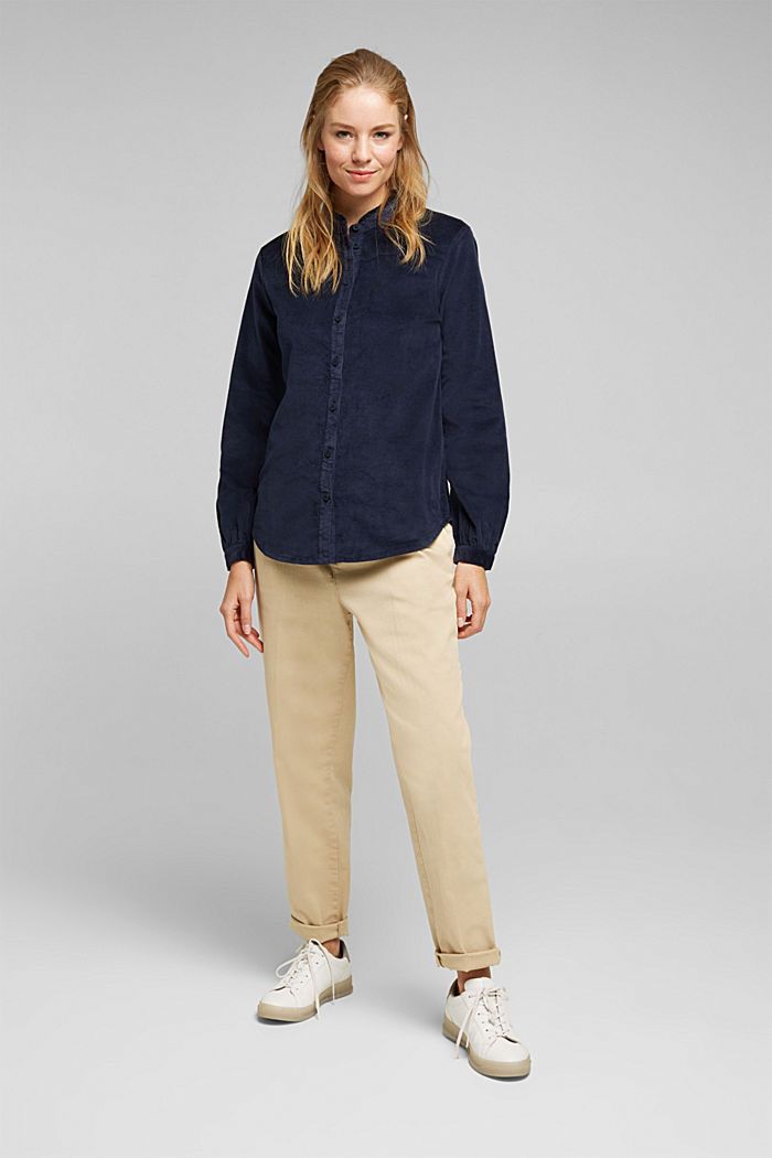 Needlecord blouse with ruffles, organic cotton, NAVY, detail image number 1