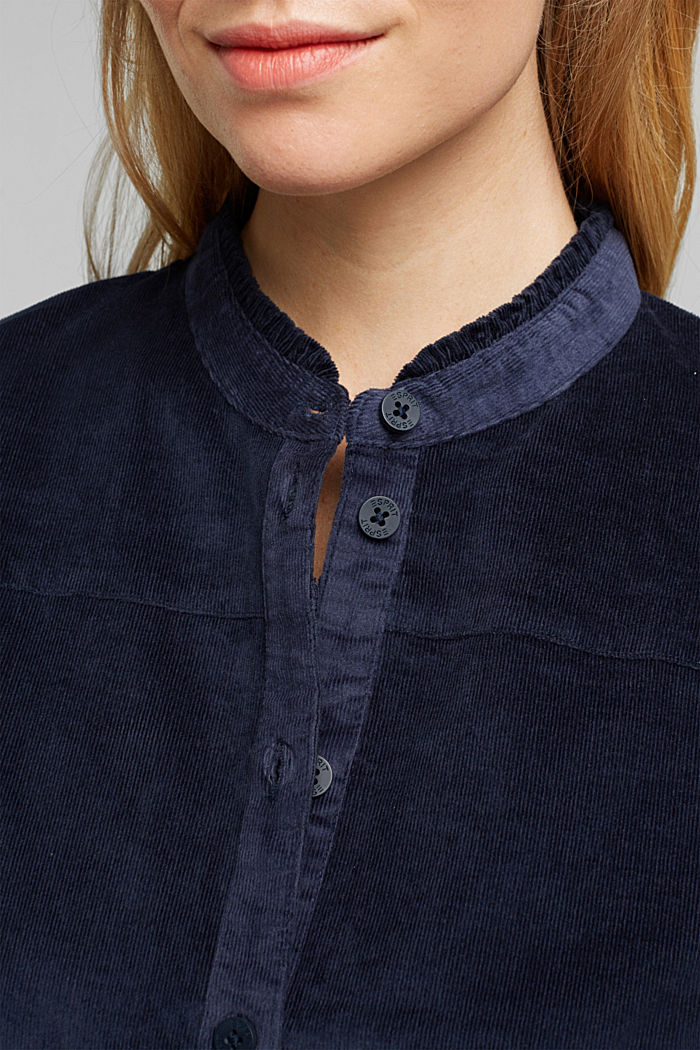 Needlecord blouse with ruffles, organic cotton, NAVY, detail image number 2