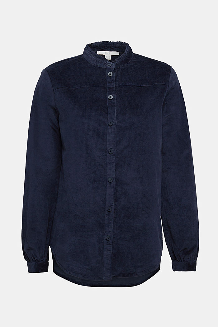 Needlecord blouse with ruffles, organic cotton, NAVY, detail image number 5