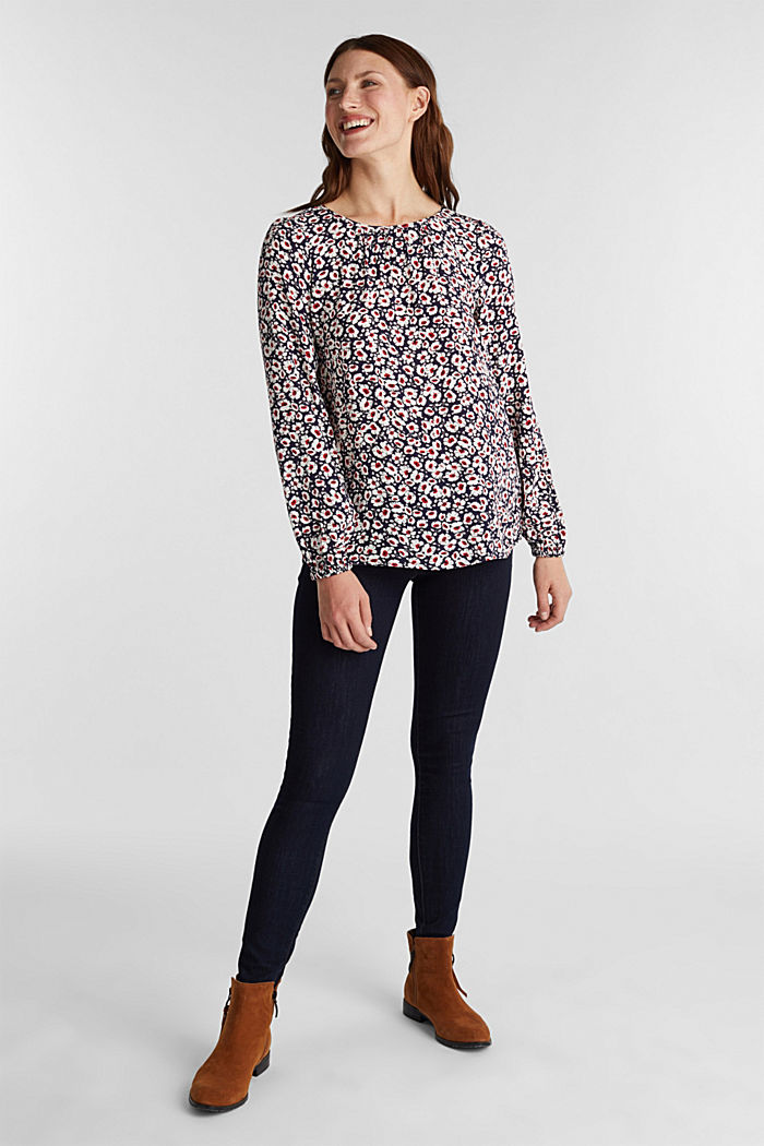 Print blouse with LENZING™ ECOVERO™, NAVY, detail image number 1
