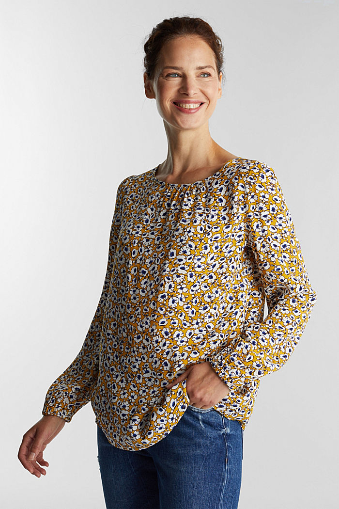 Print blouse with LENZING™ ECOVERO™, BRASS YELLOW, detail image number 0
