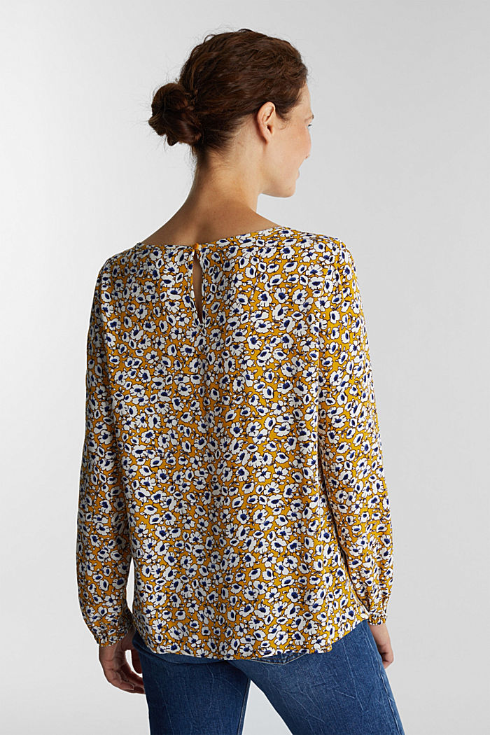 Print blouse with LENZING™ ECOVERO™, BRASS YELLOW, detail image number 3