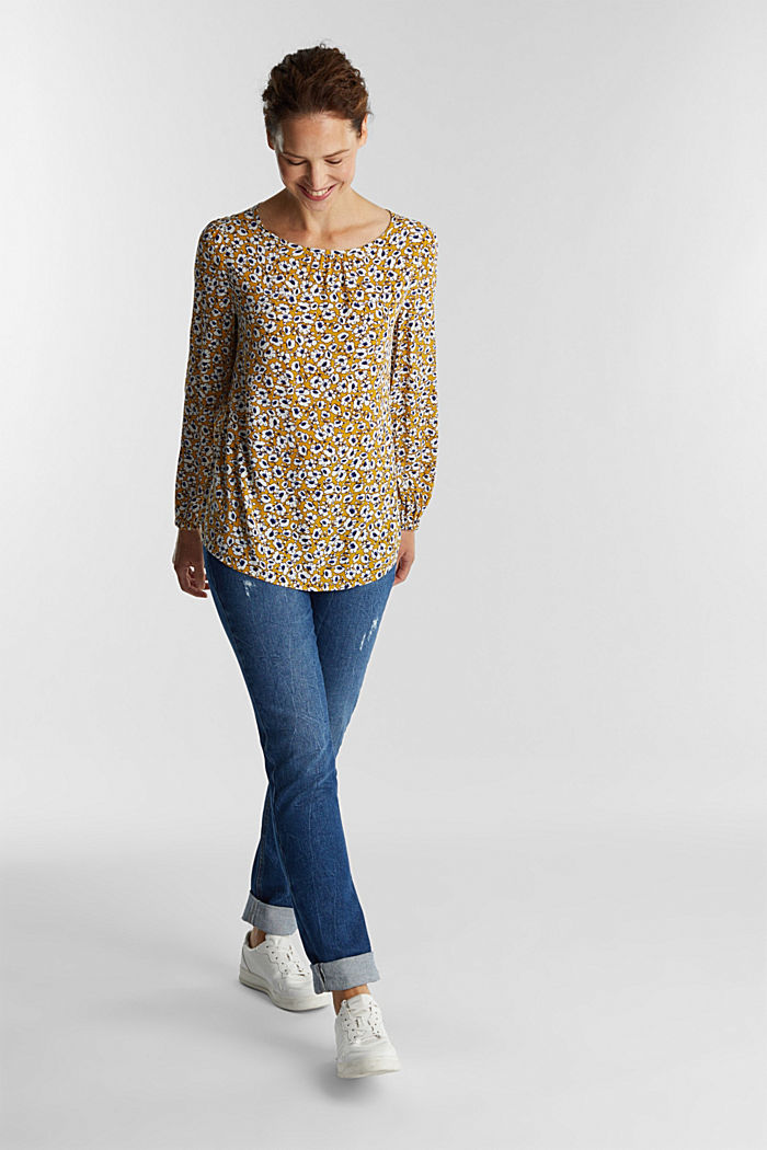 Print blouse with LENZING™ ECOVERO™, BRASS YELLOW, detail image number 1