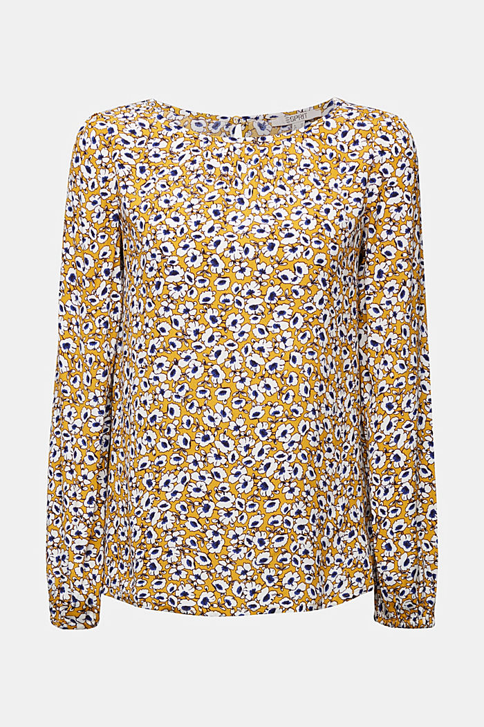 Print blouse with LENZING™ ECOVERO™, BRASS YELLOW, detail image number 6