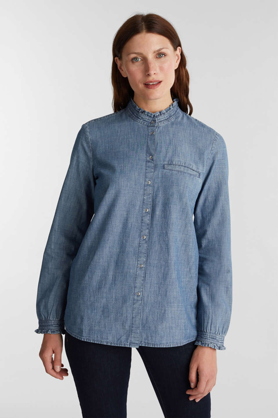 Esprit - Chambray blouse met organic cotton