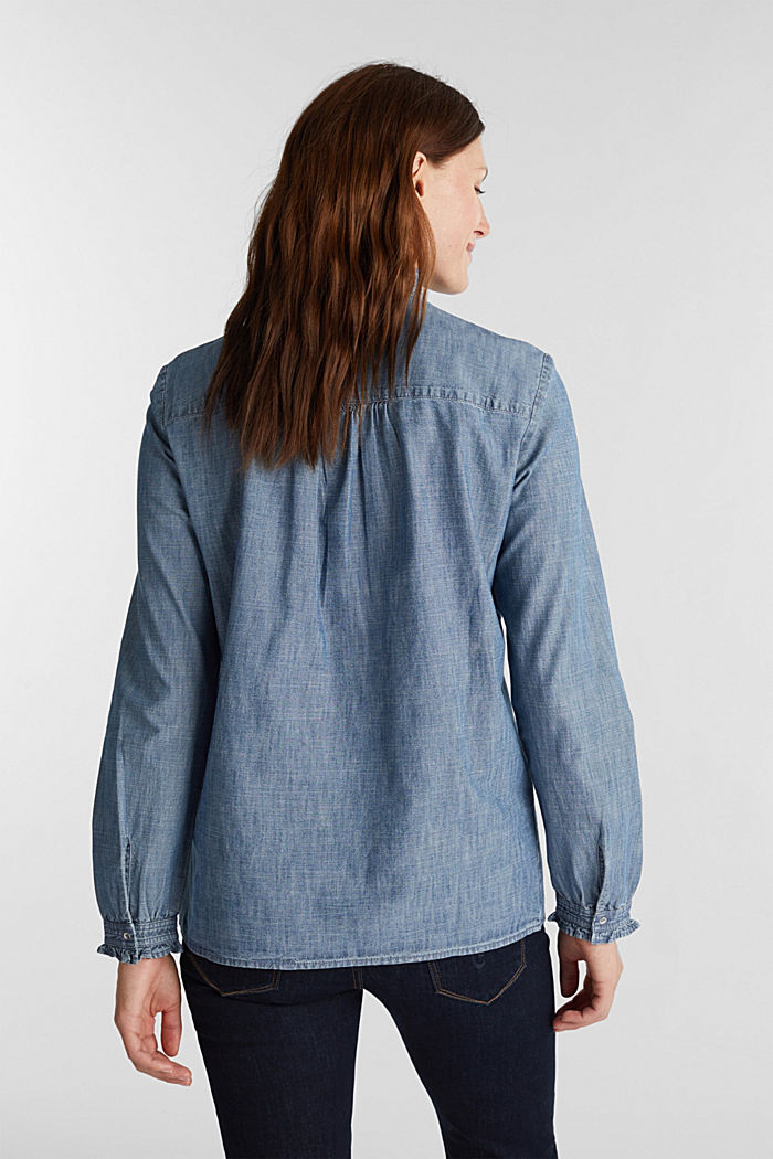 Chambray blouse containing organic cotton, GREY BLUE, detail image number 3