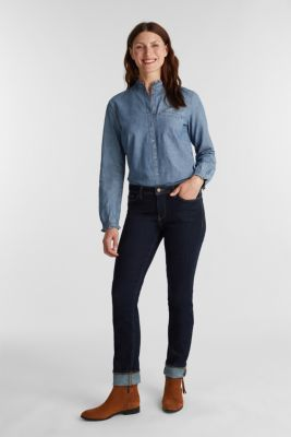 Chambray blouse containing organic cotton, GREY BLUE, detail