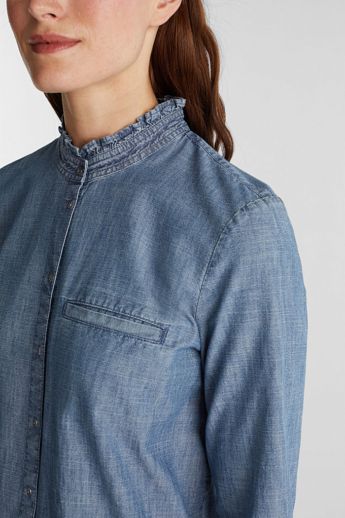Chambray blouse containing organic cotton, GREY BLUE, detail image number 2