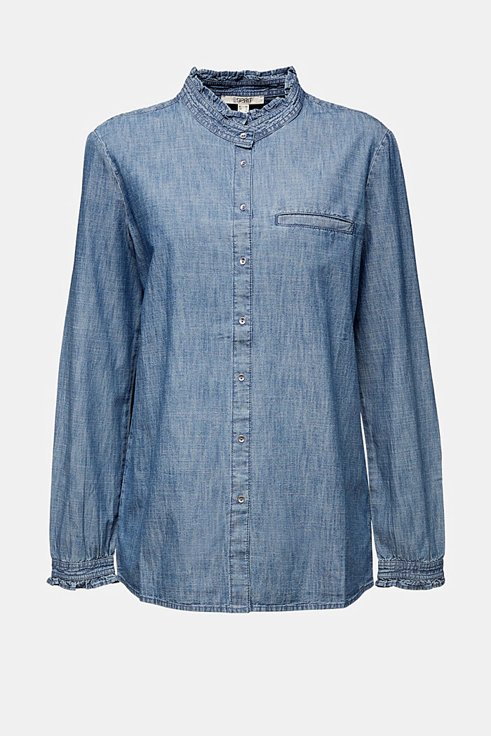 Chambray blouse met organic cotton