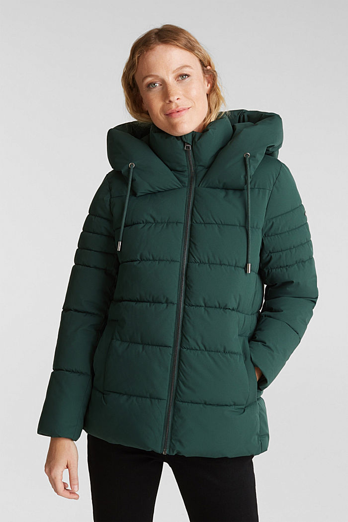Recycled: quilted jacket with a hood, DARK GREEN, detail image number 0