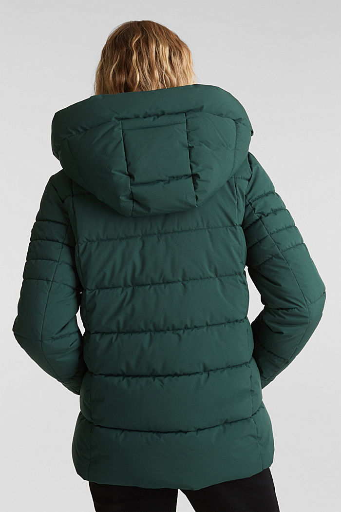 Recycled: quilted jacket with a hood, DARK GREEN, detail image number 3