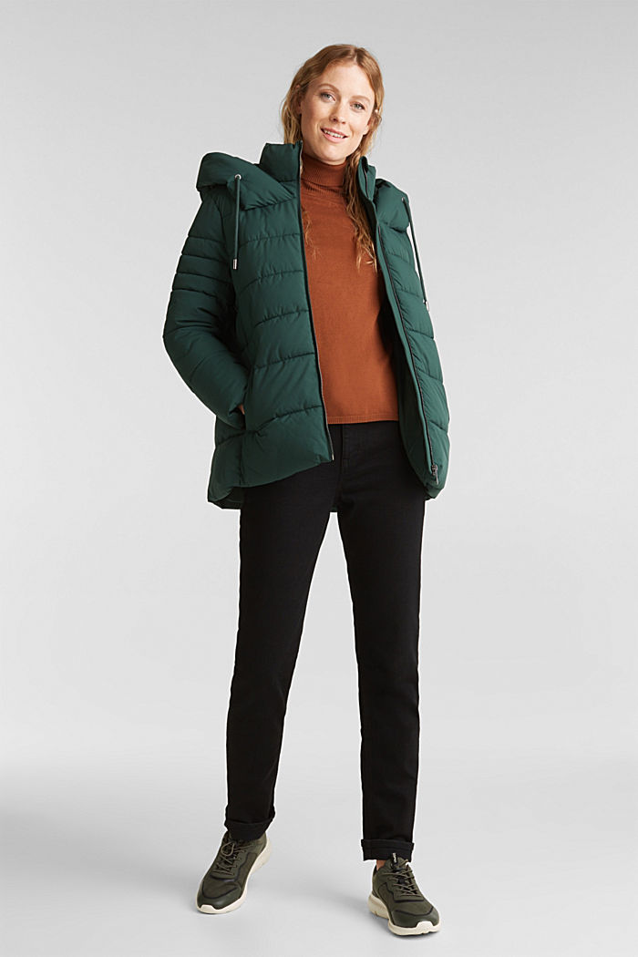 Recycled: quilted jacket with a hood, DARK GREEN, detail image number 1