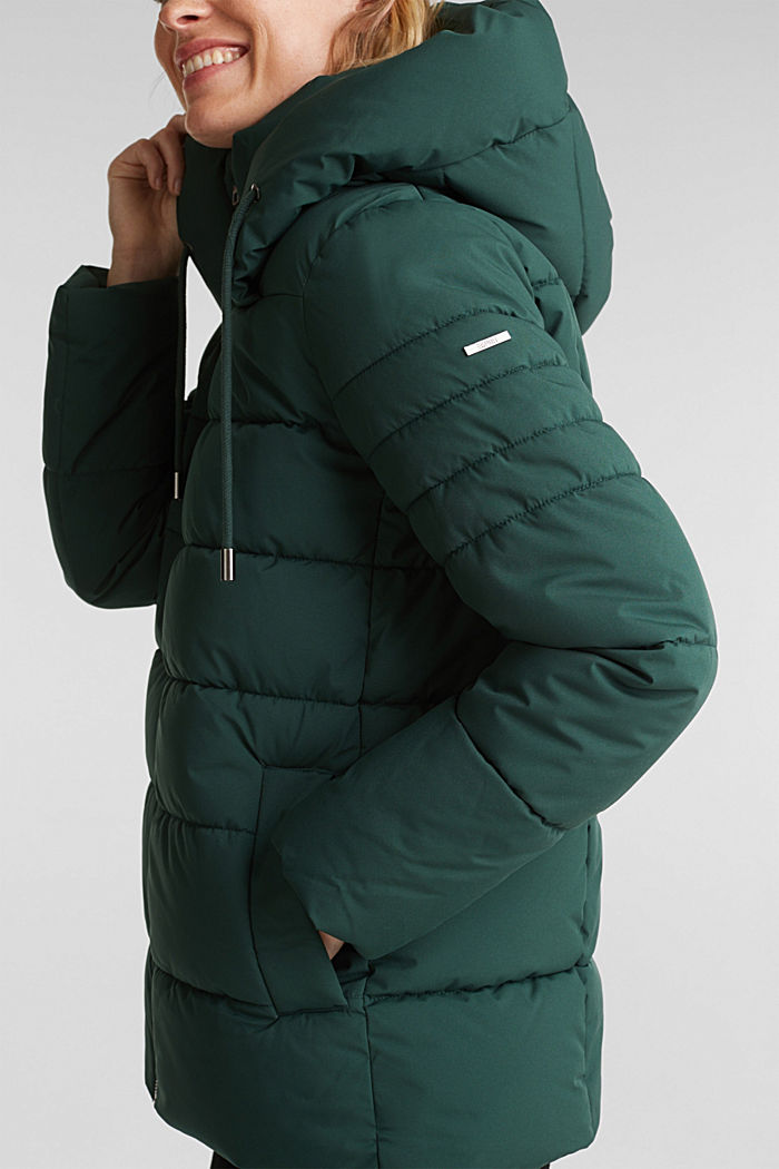 Recycled: quilted jacket with a hood, DARK GREEN, detail image number 2