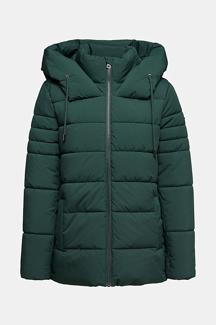 Recycelt: Steppjacke mit Kapuze, DARK GREEN, overview