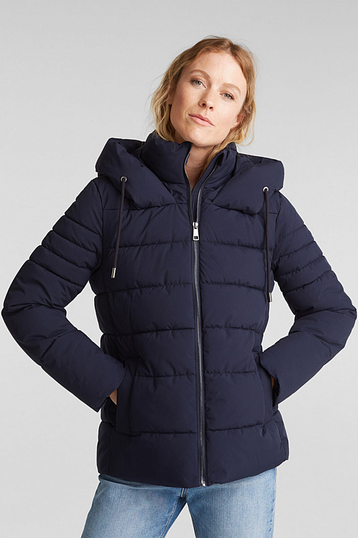 Recycled: quilted jacket with a hood, NAVY, overview
