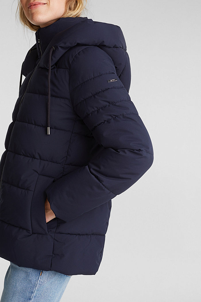 Recycled: quilted jacket with a hood, NAVY, detail image number 2