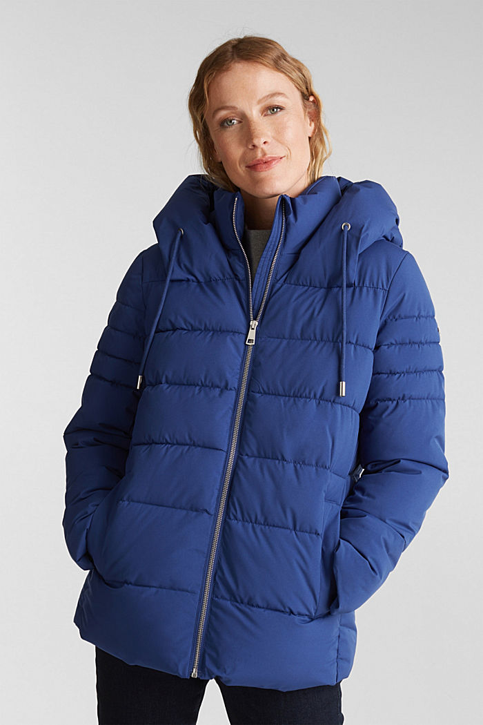 Recycled: quilted jacket with a hood, DARK BLUE, detail image number 0
