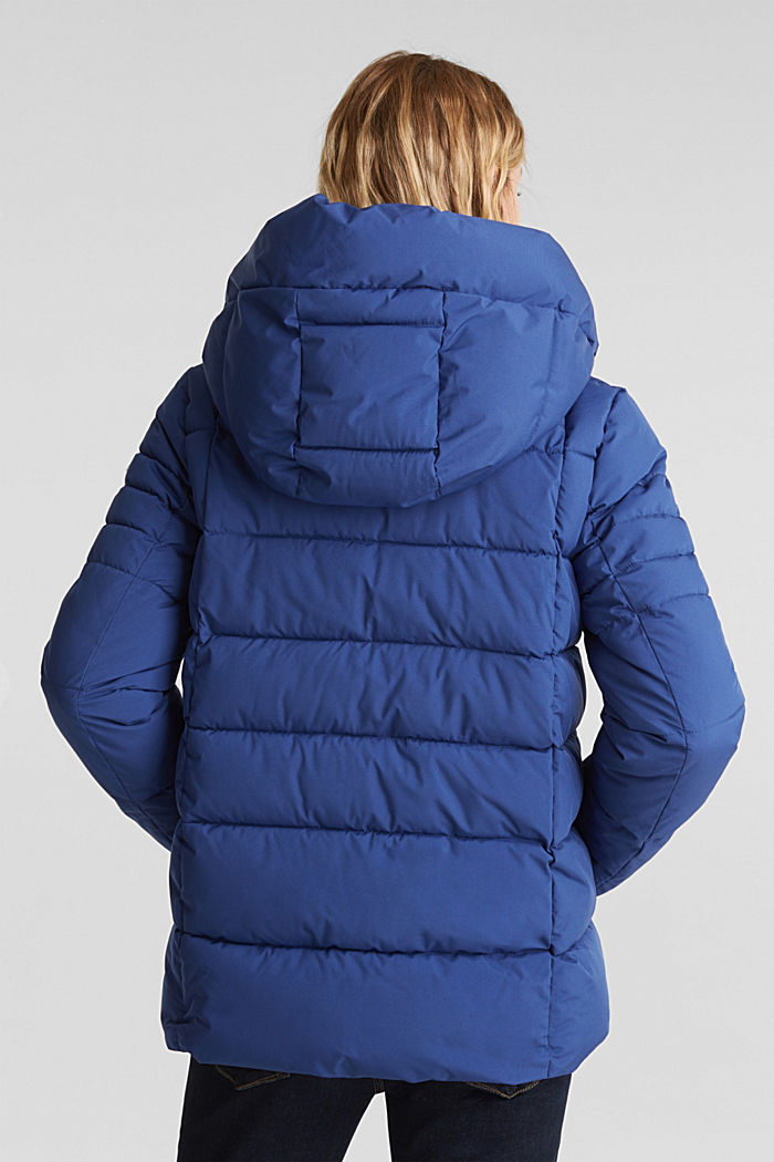 Recycled: quilted jacket with a hood, DARK BLUE, detail image number 3