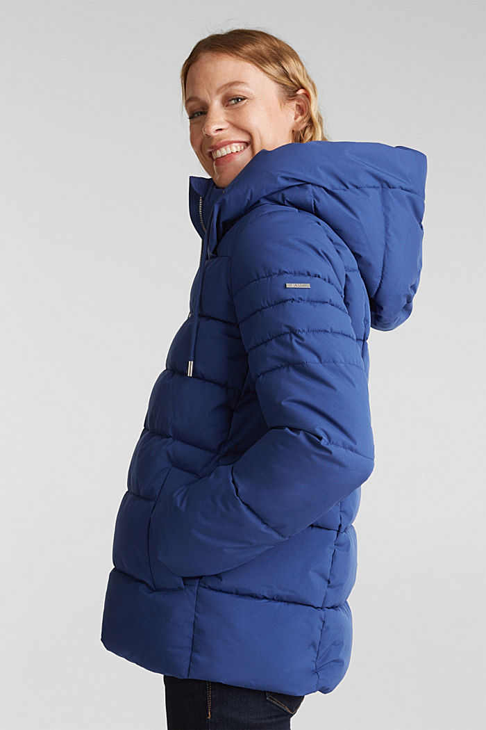 Recycled: quilted jacket with a hood, DARK BLUE, detail image number 5