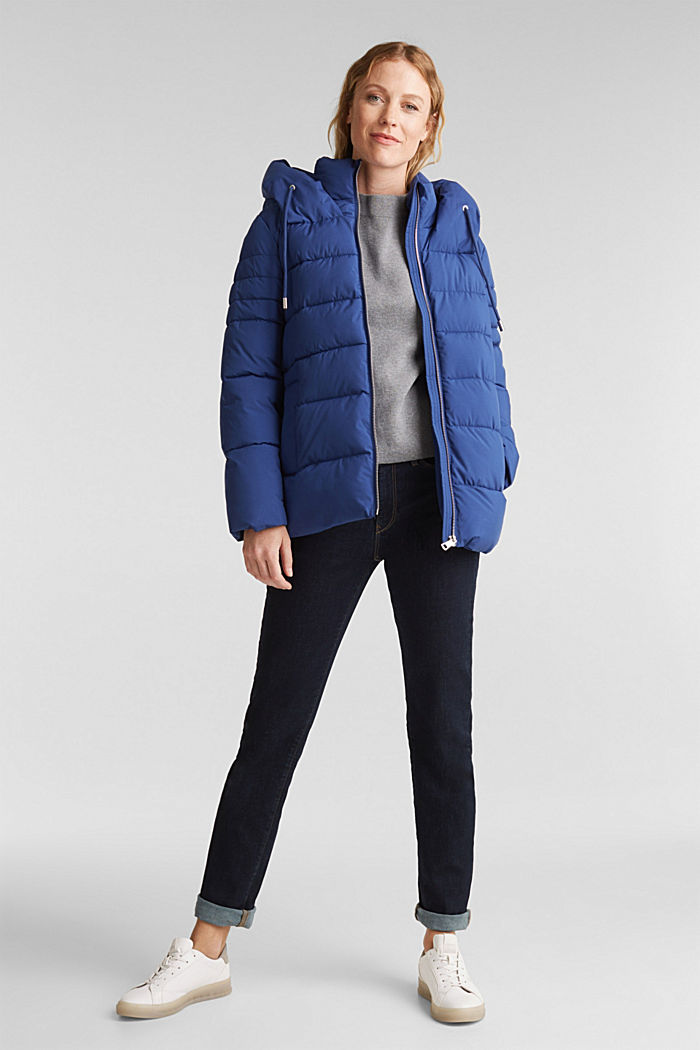 Recycled: quilted jacket with a hood, DARK BLUE, detail image number 1
