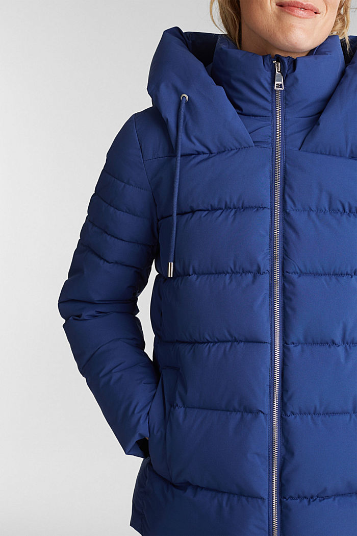 Recycled: quilted jacket with a hood, DARK BLUE, detail image number 2