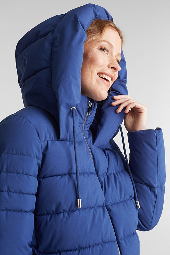 Recycled: quilted jacket with a hood, DARK BLUE, detail image number 6