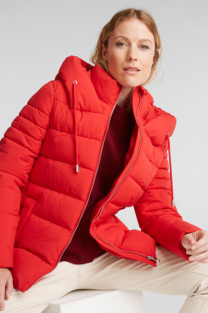 Recycled: quilted jacket with a hood, RED, detail image number 0