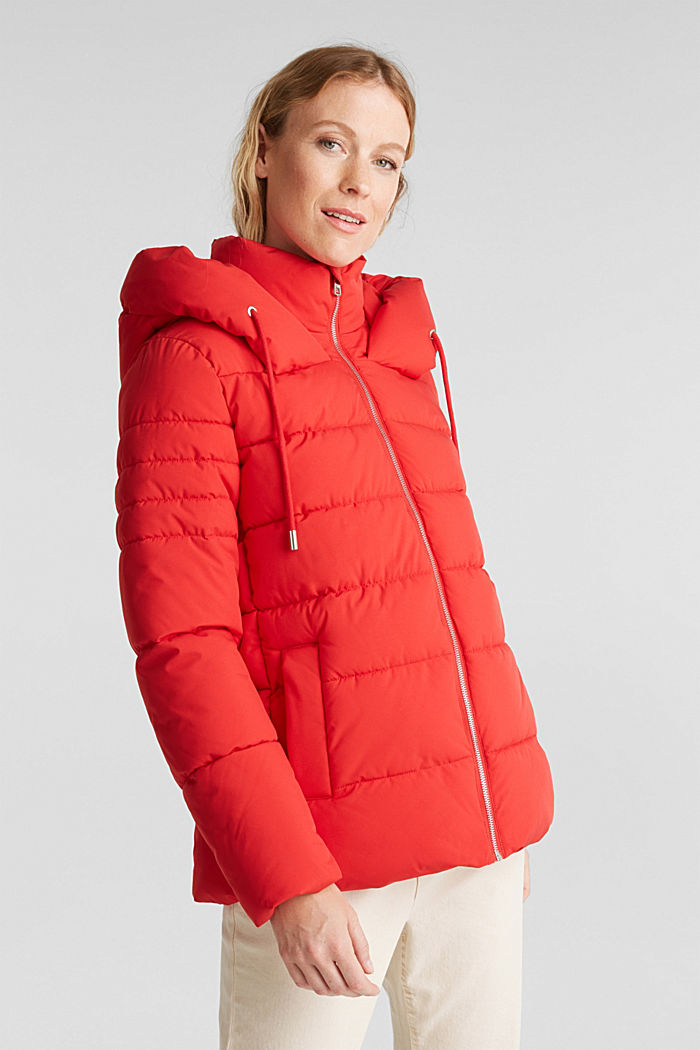 Recycled: quilted jacket with a hood, RED, detail image number 6