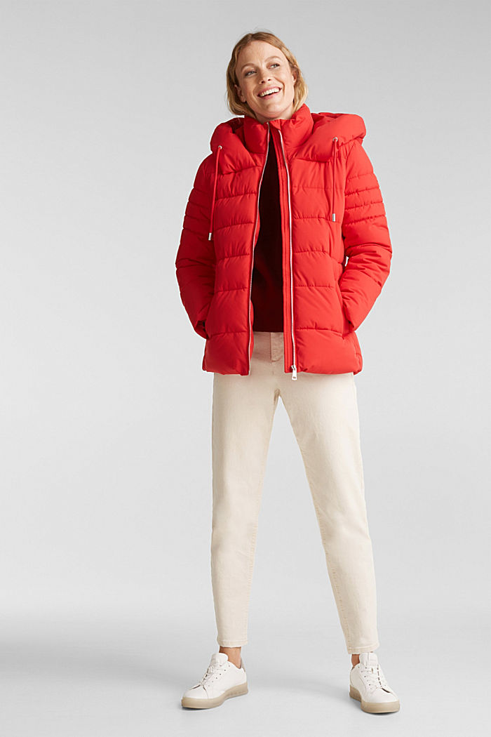Recycled: quilted jacket with a hood, RED, detail image number 1