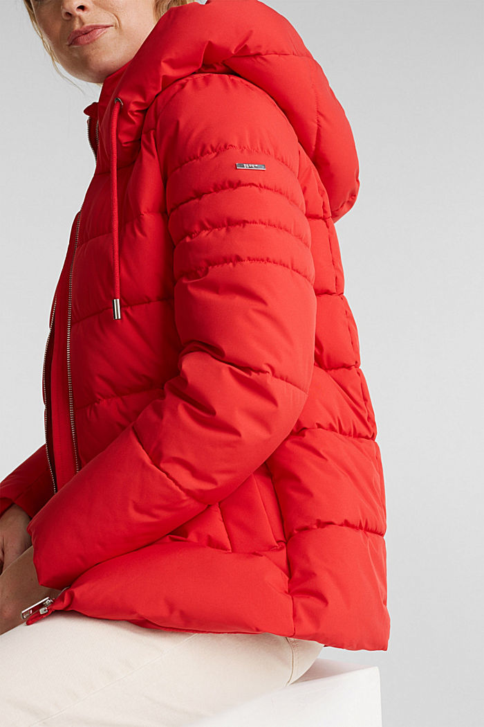 Recycled: quilted jacket with a hood, RED, detail image number 2