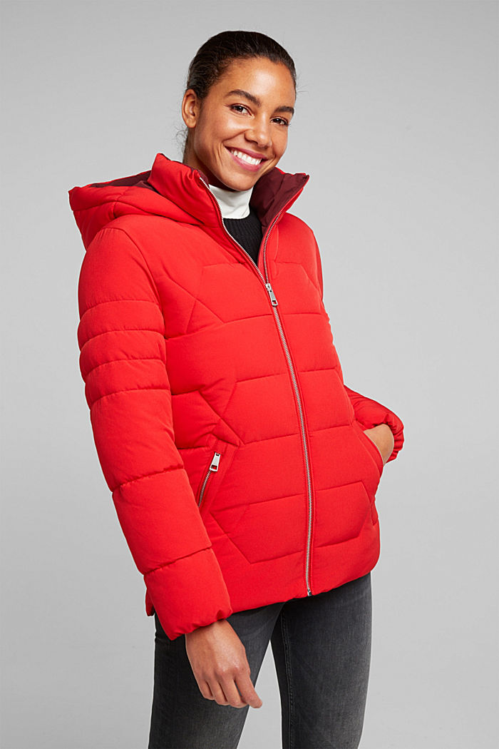 Recycled: nylon quilted jacket, RED, detail image number 0