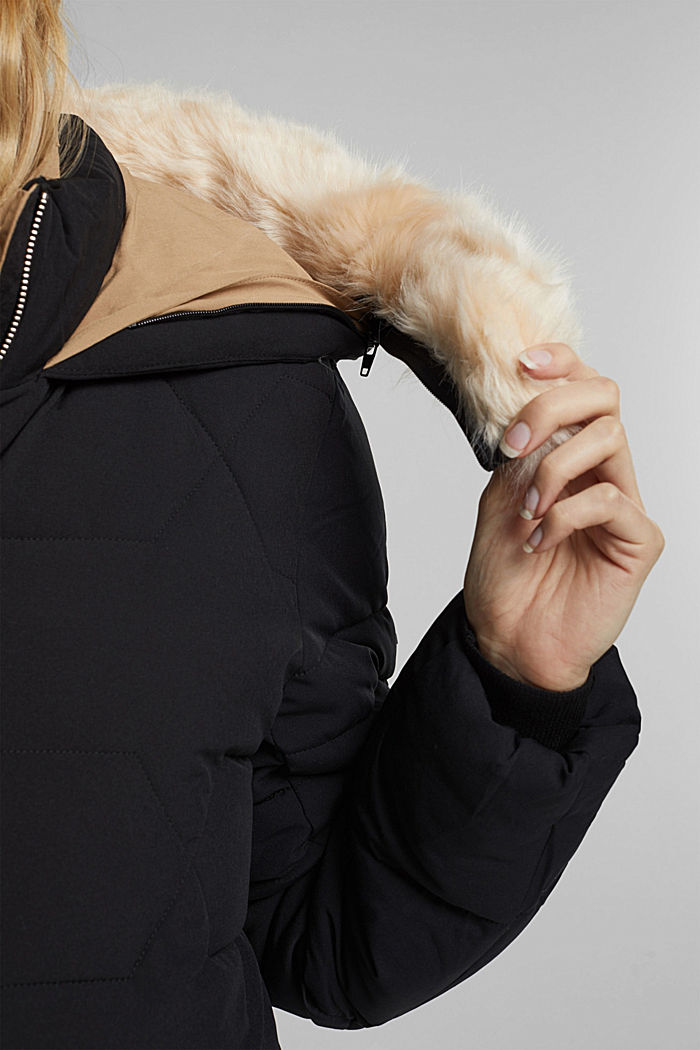 Recycled: quilted coat with a hood, BLACK, detail image number 4