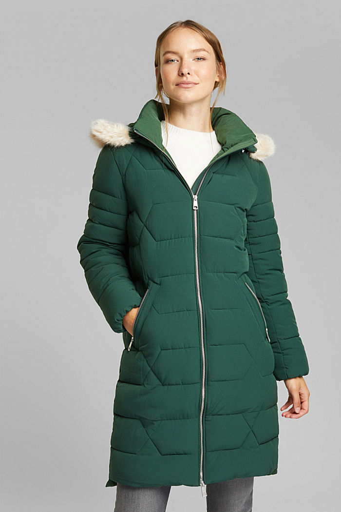 Recycled: quilted coat with a hood, DARK GREEN, detail image number 0