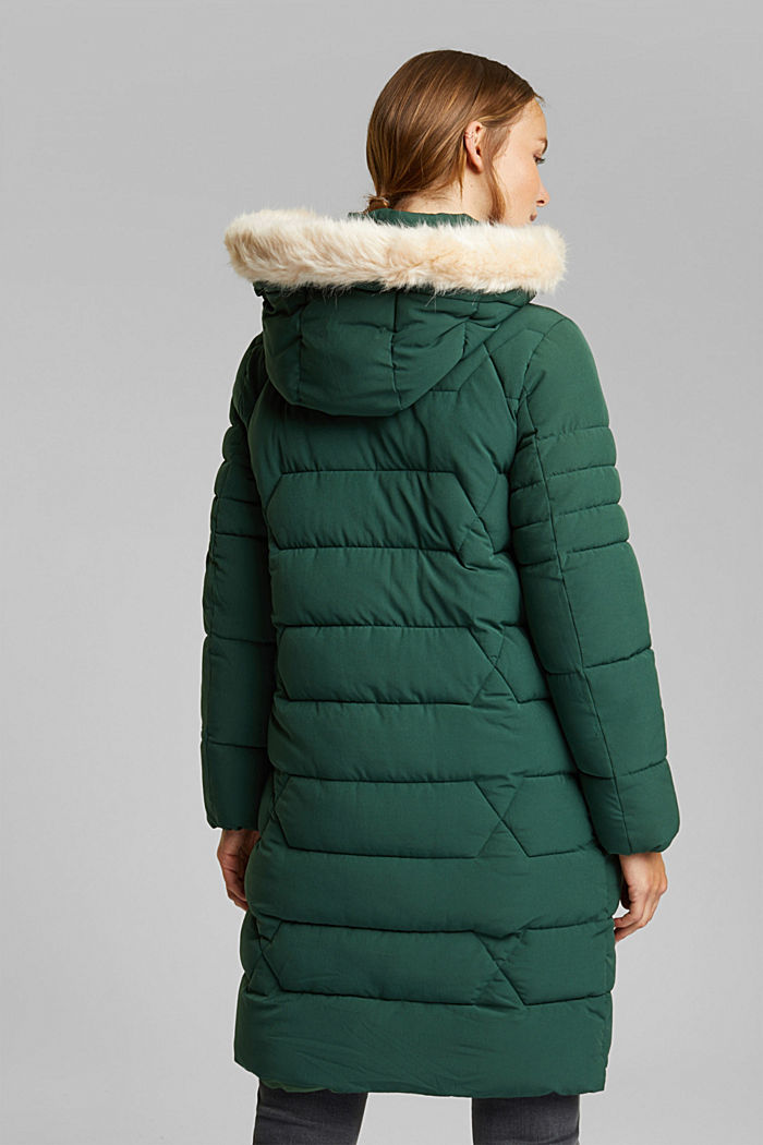 Recycled: quilted coat with a hood, DARK GREEN, detail image number 3
